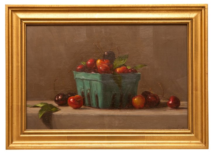 1999 Oil Painting, Cherry Basket
