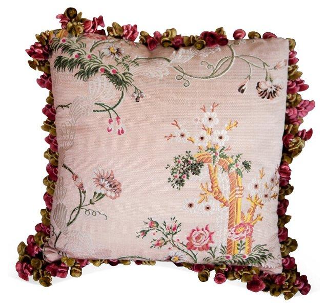 English Pink Brocade Pillow