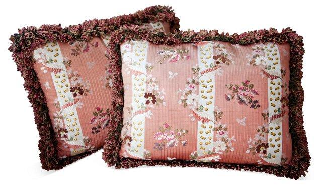 Dark Pink Lyons Silk Pillows, Pair