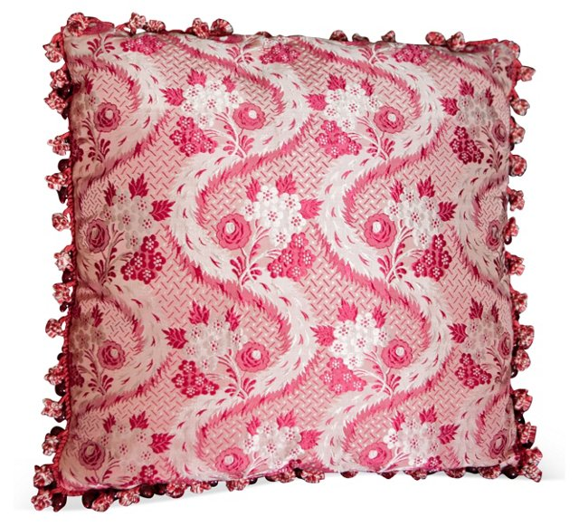 English Red & White Silk Floral Pillow