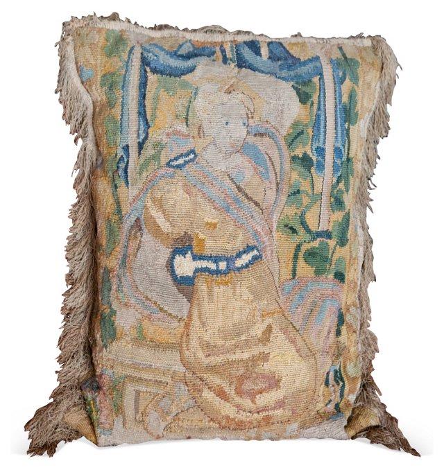 17th-C. Italian Tapestry Fragment Pillow