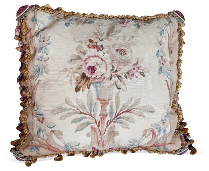 19th-C. Aubusson Tapestry Fragment Pillow
