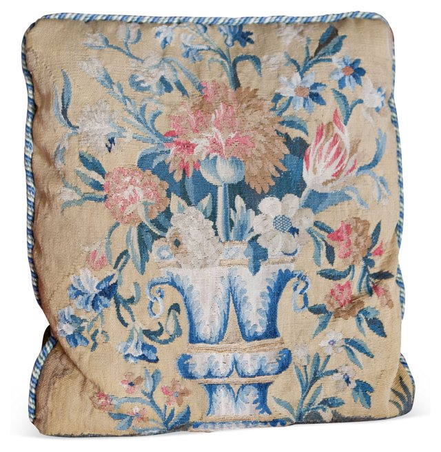 17th-C. Tapestry Fragment Pillow