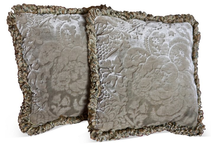 19th-C. Celadon Gaufrage Pillows, Pair