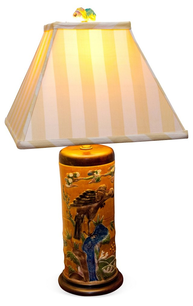 19th-C. Chinese Hat-Stand Lamp