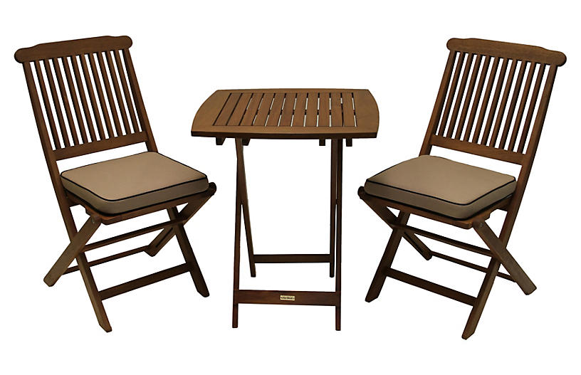 Langley 3 pc bistro set beige outdoor furniture for Outdoor furniture langley