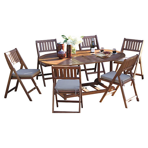 Mara Dining Set, Navy/White