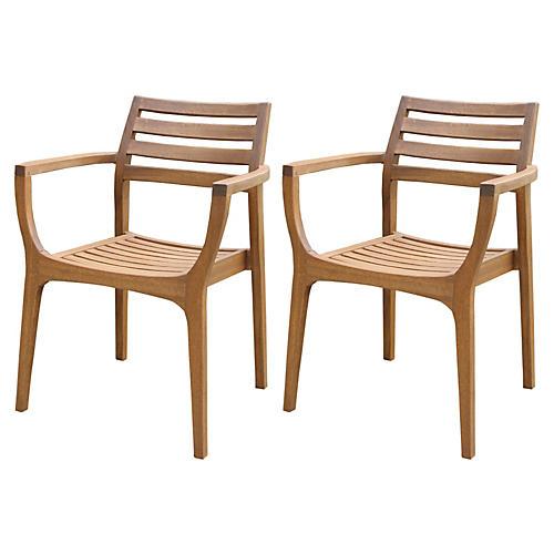 S/4 Danish Stacking Chairs, Brown