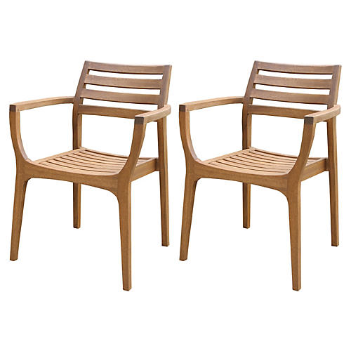 S/4 Danish Stacking Chairs, Brown