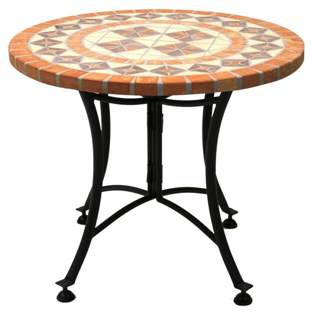 """24""""Dia Outdoor Side Table, Terracotta"""