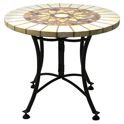 "24""Dia Outdoor Side Table, Marble"