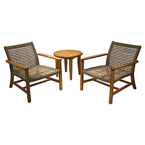 3-Pc Wicker Lounge Set, Natural