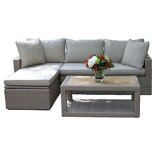 3-Pc Teak Sectional & Table Set, Ash
