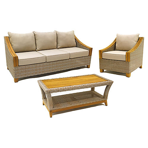3-Pc Wicker Lounge Set, Taupe