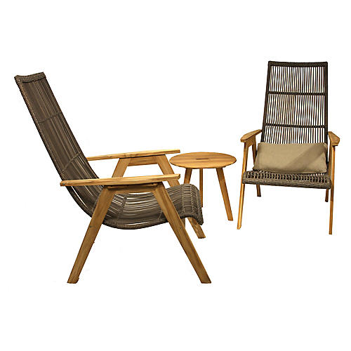 Natural Wicker Lounge Chairs, Pair