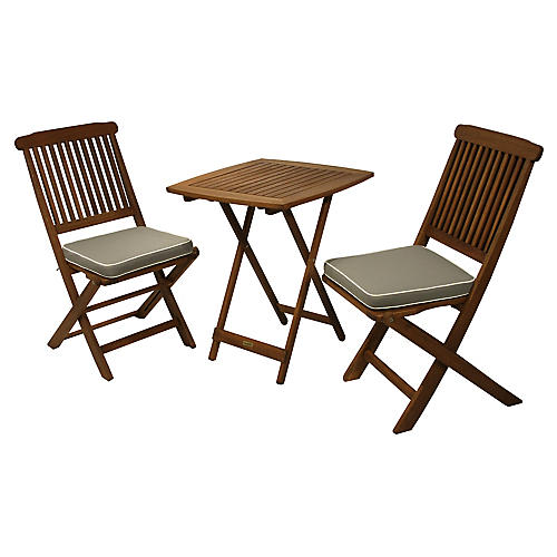 3-Pc Brazilian Bistro Set, Gray