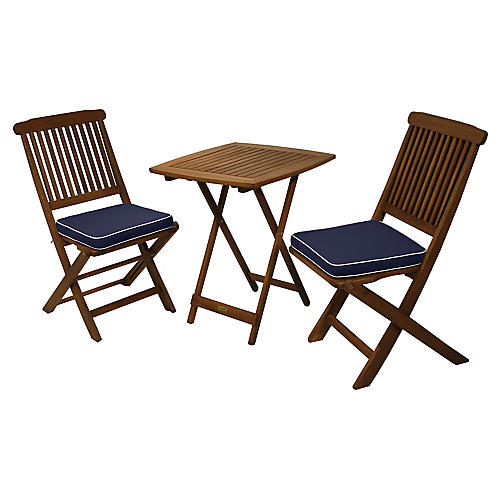 3-Pc Brazilian Bistro Set, Blue