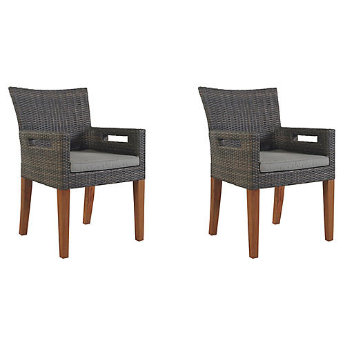 Gray Wicker Armchairs, Pair