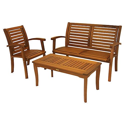 3-Pc Brazilian Lounge Set, Natural
