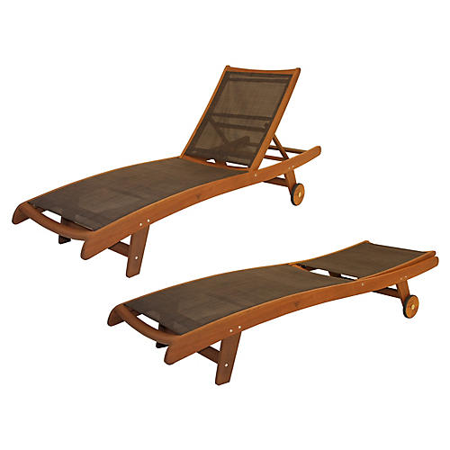 Sling & Brazilian Chaise Longues, Pair