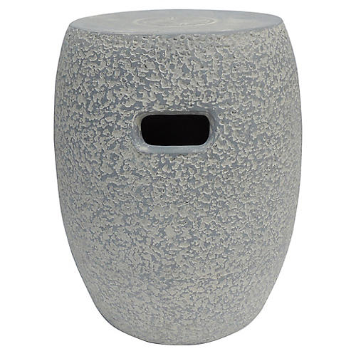Clay Garden Stool, Washed Concrete