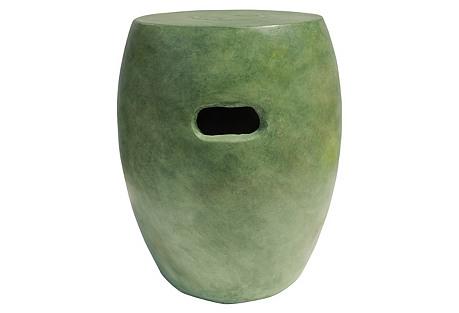Fiber Concrete Garden Stool, Green