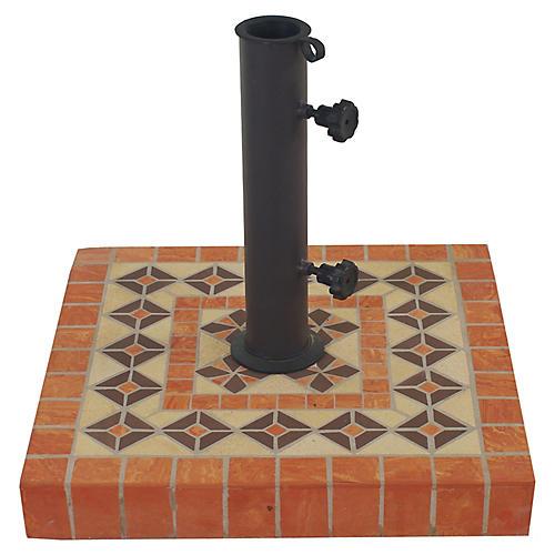 Mosaic Square Umbrella Base, Orange/Multi
