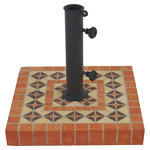 Mosaic Square Umbrella Base, Orange/Multi
