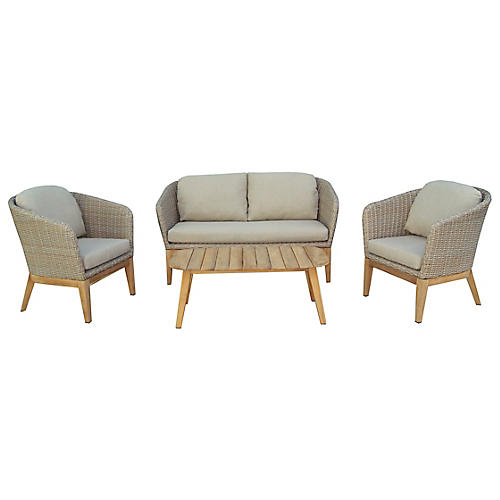 Teak & Wicker 4-Pc Lounge Set, Beige