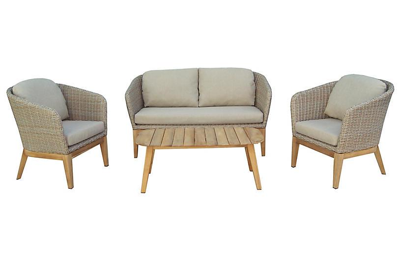 Teak & Wicker 4-Pc Lounge Set, Beige