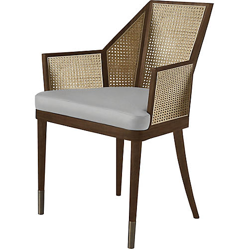 Cane Armchair, Light Gray/Natural