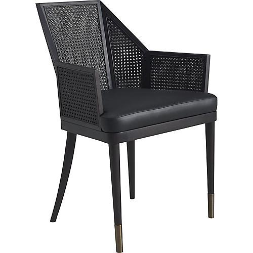 Cane Armchair, Black