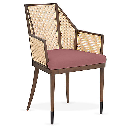 Cane Armchair, Orchid Dusk/Natural