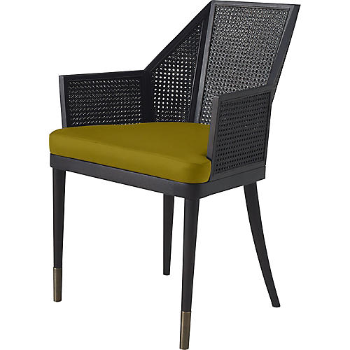 Cane Armchair, Citrine/Natural
