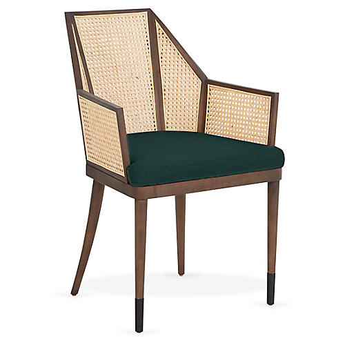 Cane Armchair, Midnight Green/Natural