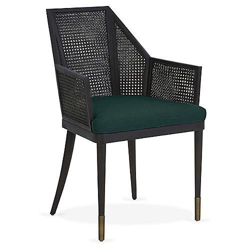 Cane Armchair, Midnight Green