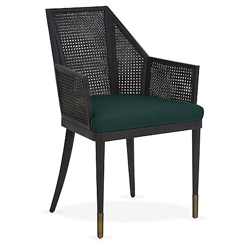 Cane Armchair, Midnight Green