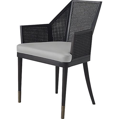 Cane Armchair, Light Gray