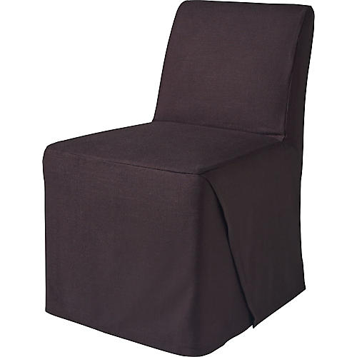 Linen Side Chair Slipcover, Black