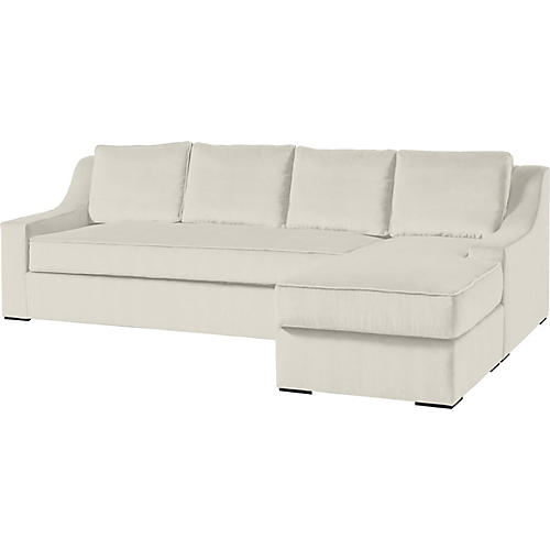"""Studio 114"""" Sectional w/Movable Ottoman, Oyster"""