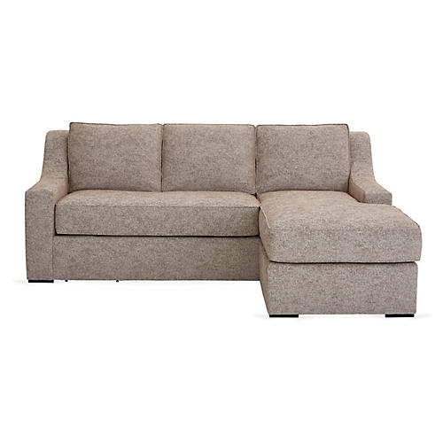 "Studio 71"" Sectional w/Movable Ottoman, Tan"