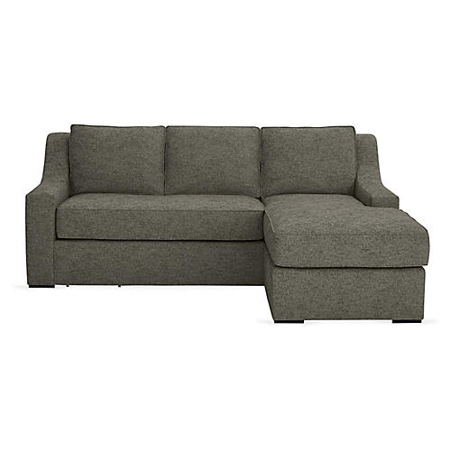 "Studio 71"" Sectional w/Movable Ottoman, Smoke Ash"