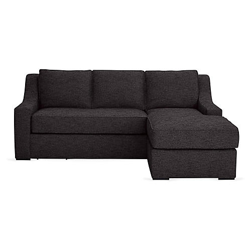 "Studio 71"" Sectional w/Movable Ottoman, Noir"