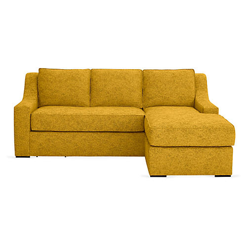 "Studio 71"" Sectional w/Movable Ottoman, Citrine"