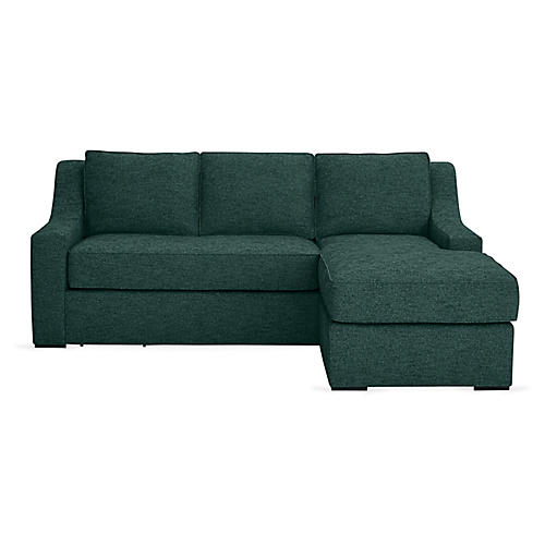 "Studio 71"" Sectional w/Movable Ottoman, Green"