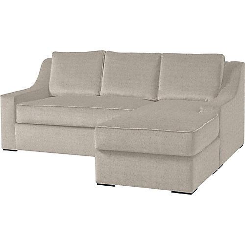 "Studio 71"" Sectional w/Movable Ottoman, Light Gray"