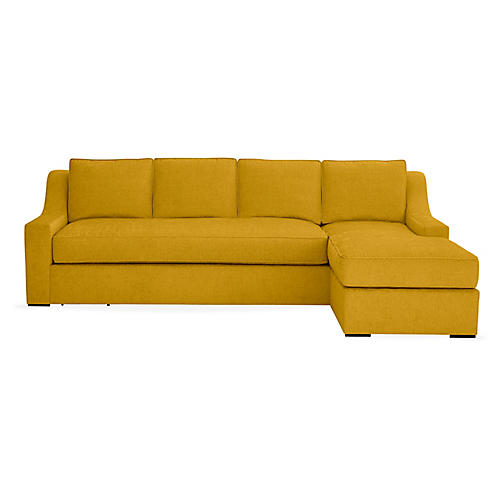 "Studio 114"" Sectional w/Movable Ottoman, Citrine"