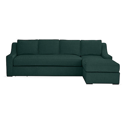 "Studio 114"" Sectional w/Movable Ottoman, Green"