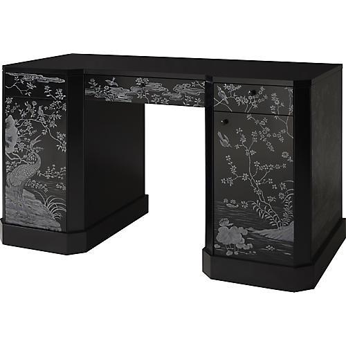Classic Chinoiserie Vanity Table, Black