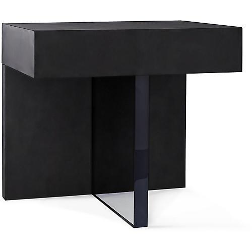 Plinth Side Table, Blackened Walnut